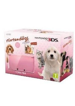 Nintendo 3DS Coral Pink Console Bundle with Nintendogs and Cats - Golden Retreiver (Nintendo 3DS)