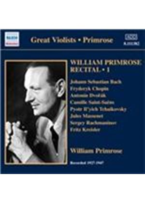 William Primrose Recital, Vol. 1: 1927-1947 (Music CD)