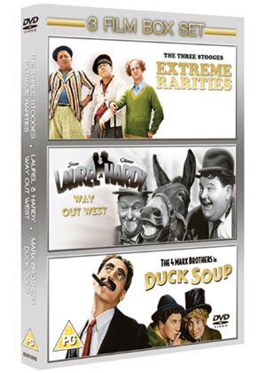 Three Stooges In Colour / Laurel And Hardy - Way Out West / Marx Bros - Duck Soup