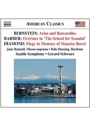 Bernstein: Arias and Barcarolles; Barber: Overture to The School for Scandal; Diamond: Elegy in Memo (Music CD)