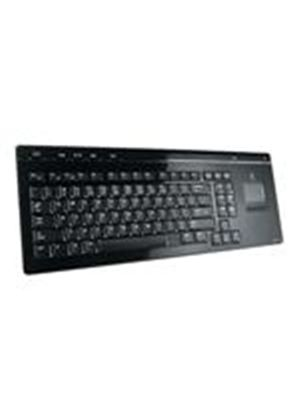 Logitech Cordless MediaBoard Pro - Keyboard - wireless - Bluetooth - touchpad - Sony PlayStation 3 - black - English