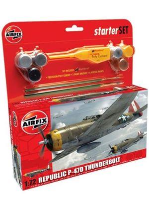Airfix A50088 Republic P-47D Thunderbolt 1:72 Scale Military Aircraft Category 2 Gift Set including paint glue & brushes