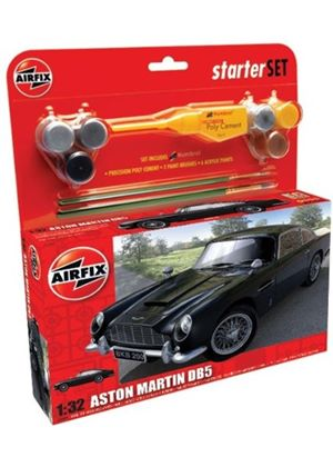 Airfix A50089 Aston Martin DB5 1:32 Scale Classic Car Category 2 Gift Set including paint glue & brushes