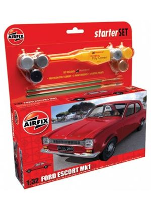 Airfix A50091 Ford Escort Mk I 1:32 Scale Classic Car Category 2 Gift Set including paint glue & brushes