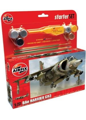 Airfix A50093 BAe Harrier GR3 1:72 Scale Military Aircraft Category 2 Gift Set including paint glue & brushes