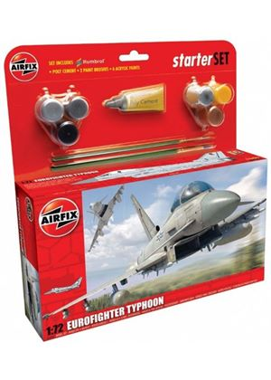 Airfix A50098 Eurofighter Typhoon 1:72 Scale Military Aircraft Category 3 Gift Set including paint glue & brushes