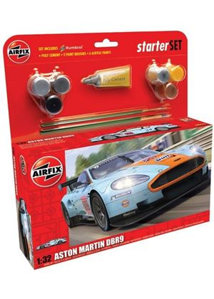 Airfix A50110 Aston Martin DBR9 Gulf 1:32 Scale Endurance Car Category 3 Gift Set including paint glue & brushes