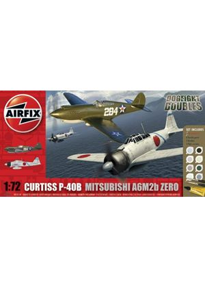 Airfix A50127 Dogfight Doubles Curtis P-40 & Mitsubishi Zero 1:72 Scale Military Aircraft Gift Set including paint glue & brushes