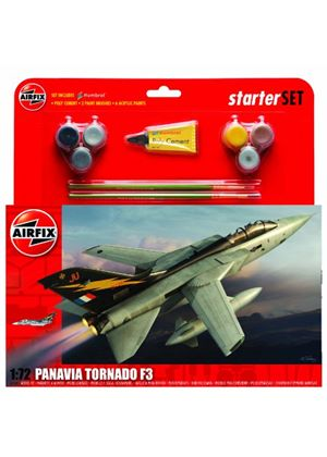 Airfix A55301 Tornado F3 1:72 Scale Military Aircraft Category 3 Gift Set including paint glue & brushes