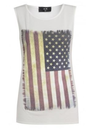 USA Flag Vest Top in Cream