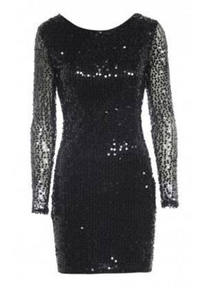 Sequin Bodycon Dress in Black