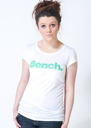 Deck Star Tee in White with Glitter Green Logo