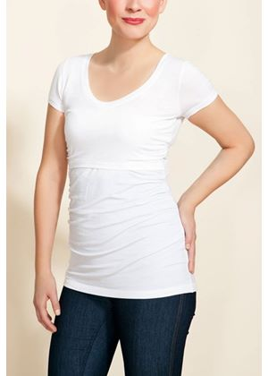 Nursing V-Neck Before and After in White