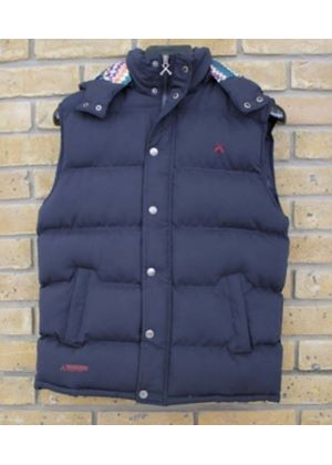 Padded Aspin Gilet in Navy with Aztec hood lining