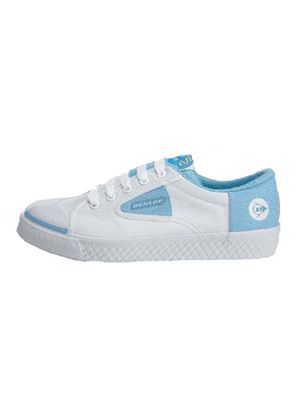 Ladies Lace Tennis Shoe in White and Sky