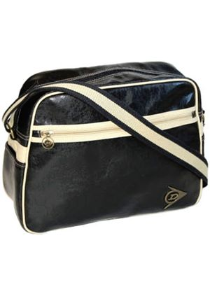 Messenger Bag In Black PVC with a Cracked Retro Finish and Ecru Trim