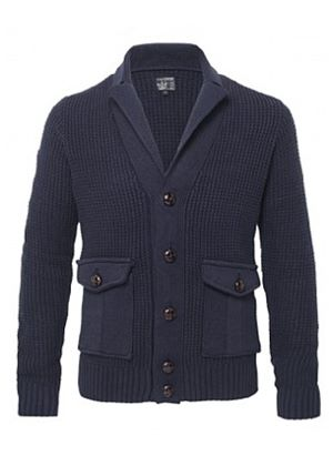 Cardio Knitted Cardigan in Navy with Leather Style Buttons