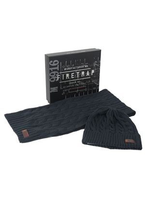 Gift Boxed Bore Arran Knit Hat in Vintage Navy