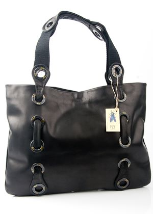 Moss Fly London Rug Suede and Leather Handbag in Black