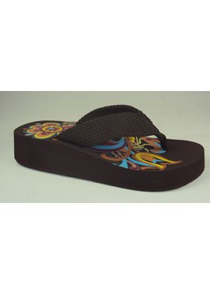 Bumper Flip Flop in Brown Nylon