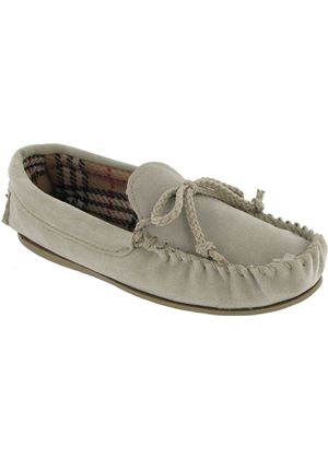 Ladies Suede Mocassin traditonal USK slipper in  Beige