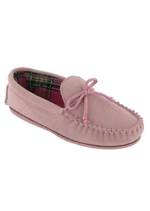 Ladies Suede Mocassin traditonal USK slipper in Pink