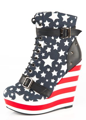 Stars and Stripes Iron Fist Wedge Shoe