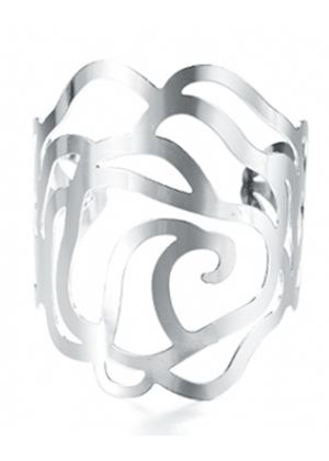 Hollow rose metal cuff silver finish