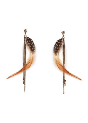 Feather earrings in Brown