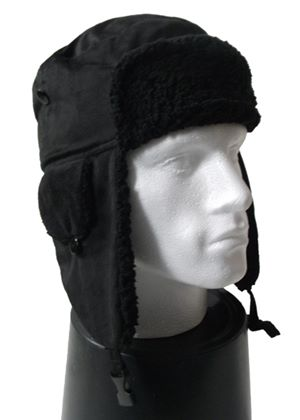 Faux Suede Bomber Hat in Black