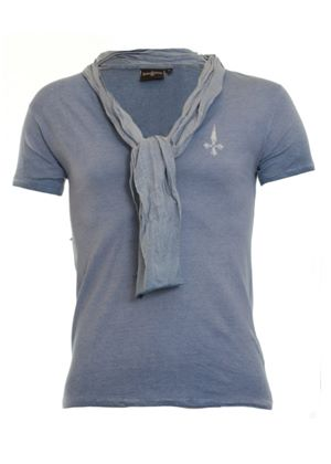 Deep V T Shirt with Scarf in Blue