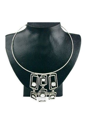 Funky Cubic Zirconia Necklace on a 18 inch (45cm) chain with a 2 inch (5cm) extension Pendant drop 7cms