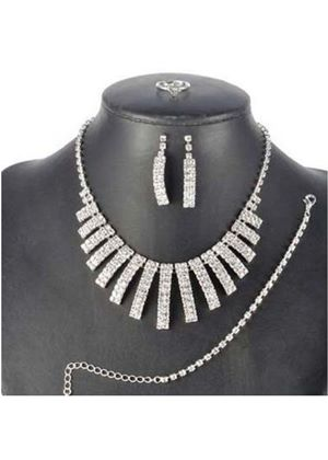 Rhinestone Necklace and Earring Set with a FREE Bracelet and Ring