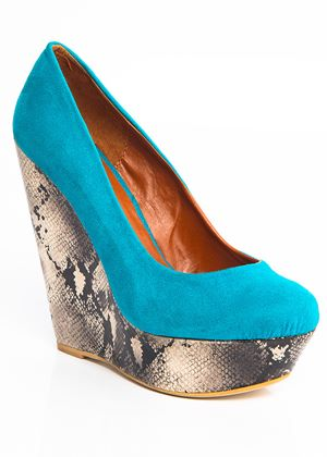 Turquoise & Leopard Wedge Shoe
