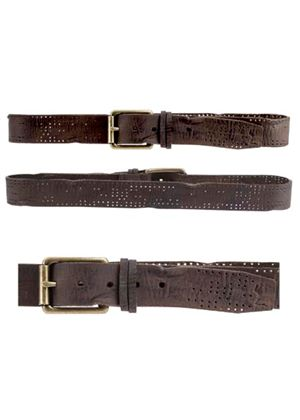 Mens Fray Perforated Brown Belt