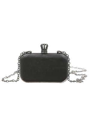 `Royalty` Hard Clutch Bag in Black