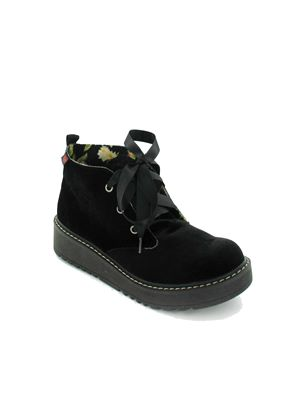 Beehive Ankle Boot in Black Velvet
