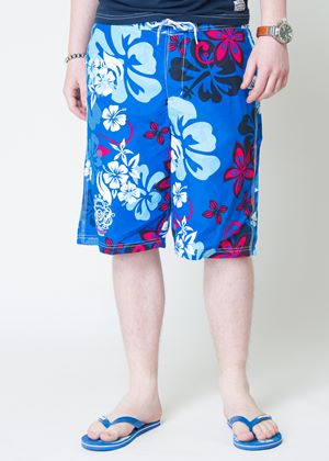 Kye Mens Floral Swimshorts with Flip Flops in Le Mans Blue