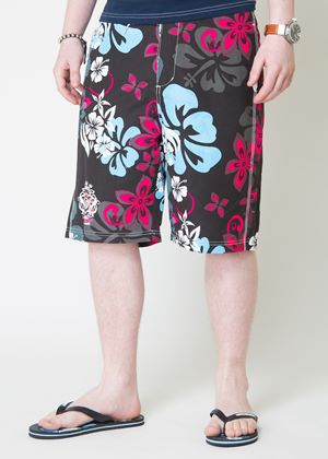 Kye Mens Floral Swimshorts with Flip Flops in Night