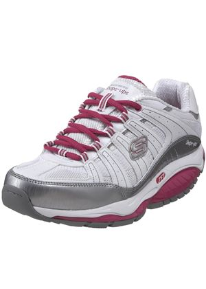 Ladies Kinetix Response Sneaker in White, Silver and Pink