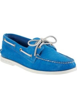A/O Mens Top Sider Suede French Blue Boat Shoes