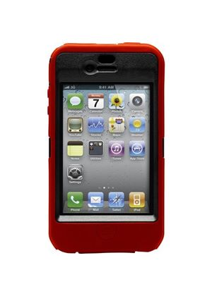 OtterBox Defender Series Case - Case for smartphone - polycarbonate, textured silicone - black, red - Apple iPhone 4