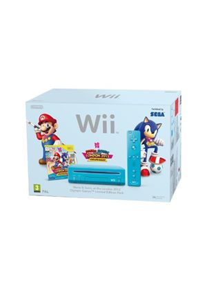 Wii Console - Blue Mario and Sonic Pack Bundle (Wii)