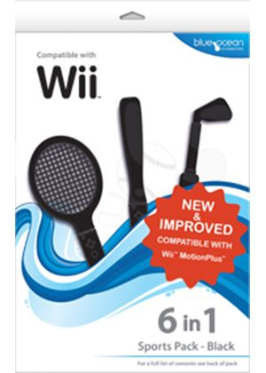Blue Ocean Accessories 6-in-1 Sports Pack (Black) (Wii)