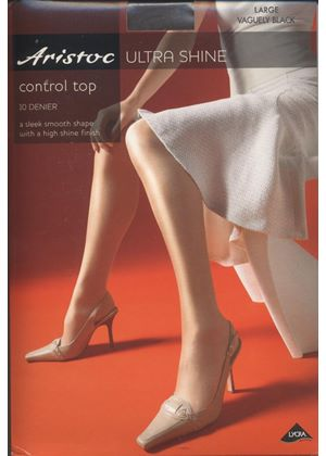 Control Top Ultra Shine Aristoc Tights In Vaguely Black