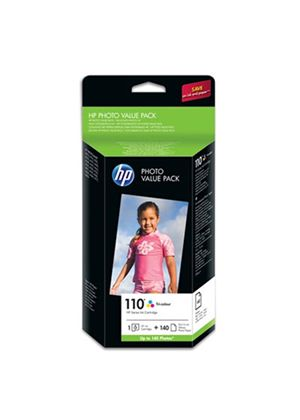 HP 110 Series Photo Value Pack 10 x 15cm (140 Sheets) with Vivera Inks