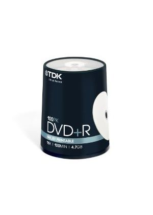 TDK DVD+R 4.7GB 16x Printable Matt Spindle (100 Pack)