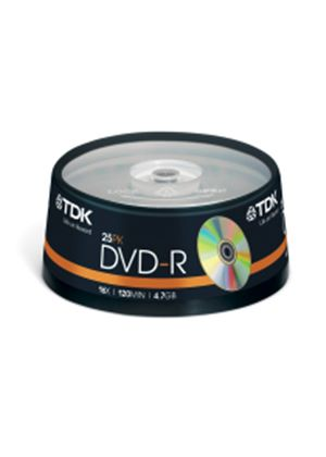 TDK DVD-R 4.7GB 16x Cakebox Spindle (25 Pack)