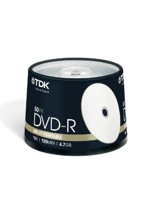 TDK DVD-R 4.7GB 16x Printable Matt Spindle (50 Pack)