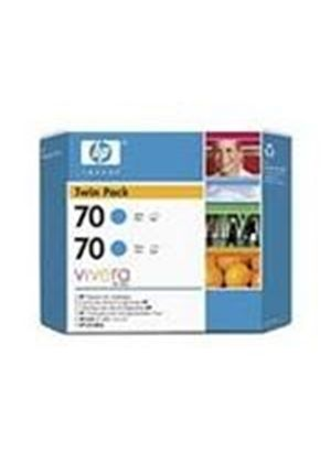 HP No.70 Cyan Ink Cartridge (130ml) Twin Pack with Vivera Ink